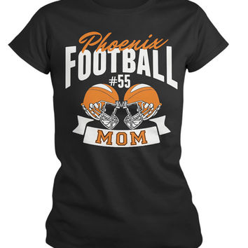 Women's Personalized Football Mom T-Shirt Custom Sports Shirts Team Colors Custom Tees