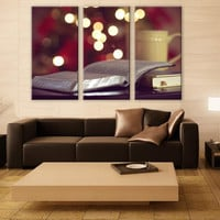 Book Lover Gift LARGE Canvas 3 Panels Print Contemporary Wall Deco Fine Art Photography Repro Print for Home and Office Wall Decoration