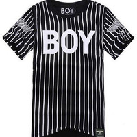 Striped Boy Print Short Sleeve T-shirt