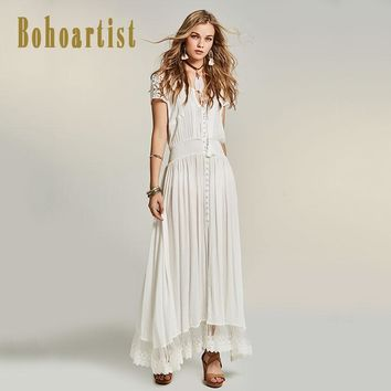 Women Patchwork White Maxi Dress Hollow Out Lace Dress Straps Tassel Bohemia A Line Elegant Maxi Dresses