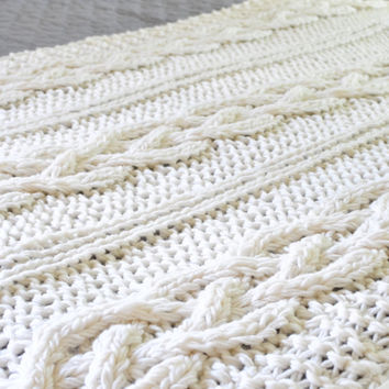 Chunky Cable Knit Blanket in Cream Irish Cabled Wool Hand Knitted Blanket