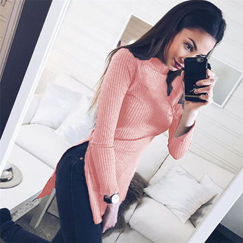 2016 Autumn Winter Turtleneck Long Sweater Women Ribbed Asymmetrical Long Slim Sweater Sexy Casual Side Split Sweaters Top GV453