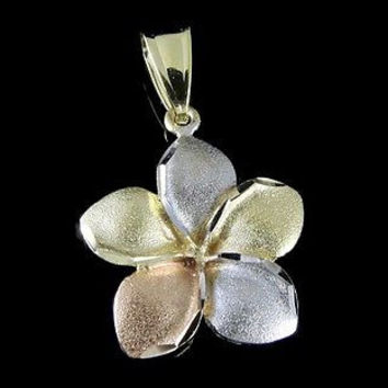 16.5MM 14K YELLOW ROSE WHITE TRICOLOR GOLD HAWAIIAN PLUMERIA FLOWER PENDANT