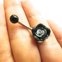 Detailed Black Rose Belly Button Ring Flower Navel Stud Jewelry Bar Barbell Piercing Bellyring Azeetadesigns