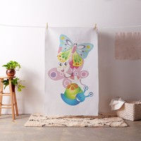 Birds,Butterfly and snail Fabric