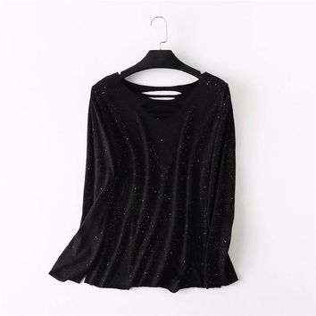Plus size cotton hollow out black t shirts women O-Neck long sleeve tshirt 2018 casual Sequins t-shirt spring & autumn tops 4XL