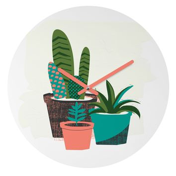 Zoe Wodarz Cactus Afternoon Round Clock