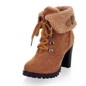 Women's high heel  ankle boots winter martin snow boots