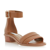 Womens Tan Dune Brown low block ankle heel sandal