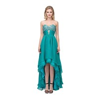 Studded Bodice Strapless High Low Jade Layered Prom Dress