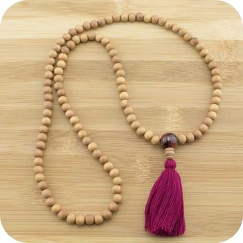 Sandalwood Mala with Red Tigers Eye