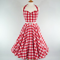 MADE TO MEASURE Red & White Gingham Boned Full by GinAndSinEtsy
