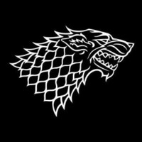 "Game of Thrones House Stark Grey Direwolf Emblem Vinyl Die Cut Decal Sticker 6"" White"
