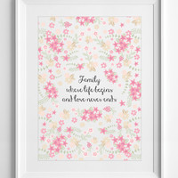 Printable family quote, quotes, flowers, floral, home decor, wall decor, inspirational posters, ALL SIZES, A3