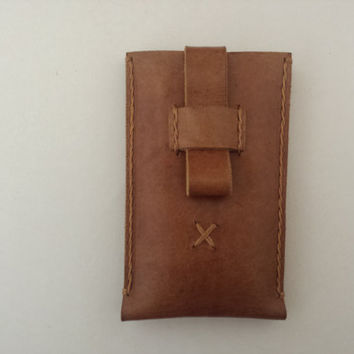 iPhone 6 Hand Stitched Vegetable Tanned Italian Leather Sleeve - Light brown color  - 100% natural