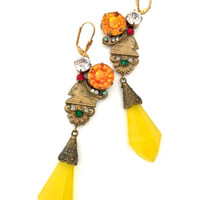 Egyptian Revival Czech Glass Earrings, Long Dangles, Antiqued Gold Tone, Art Glass Dangle, Orange Clear Red Green Accent Round, Hand Crafted