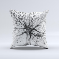 The Abstract Black and White WaterColor Vivid Tree ink-Fuzed Decorative Throw Pillow