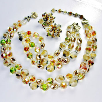 Vintage Vendome Jewelry Set Necklace Bracelet Earrings Crystal Art Glass Beads All Signed Item 1052