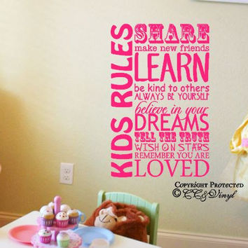 Childrens Playroom Rules Vinyl Wall Art