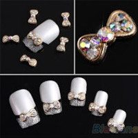 Gold and Crystal 3D Bowtie Nail Decor - 10 Pack