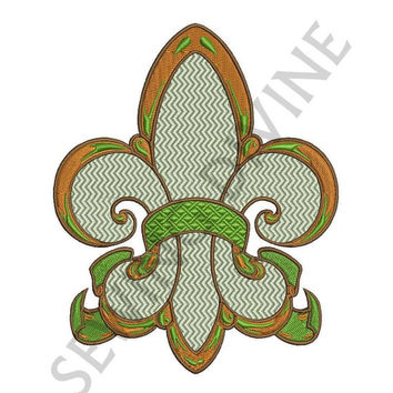 FLEUR de lis Embroidery Design with Mini-Chevron stitching for 4x4 5x7 6x10 Inch Hoops Instant Download