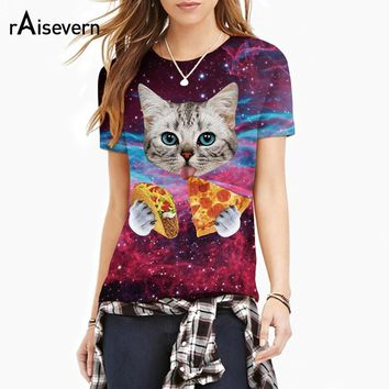 Raisevern 2017 New Galaxy Space 3D T Shirt Lovely Kitten Cat Eat Taco Pizza Funny