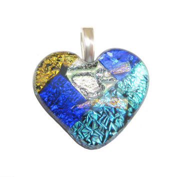 Fused Glass Heart Pendant, Slide Jewelry - One of a Kind - Large Silver Bail - Affectionately Yours  by mysassyglass