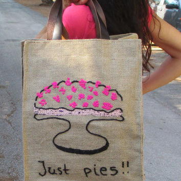 Just pies, Jute market tote, farmers bag, chic, stylish, attactive