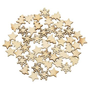 50pcs Wooden Tree Snowflakes Stars DIY Christmas Tree Hanging Ornaments Pendant Table Confetti Christmas Decorations for Home