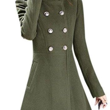 Women's Elegant Stand Collar Double-Breasted Slim Woolen Trench Coat