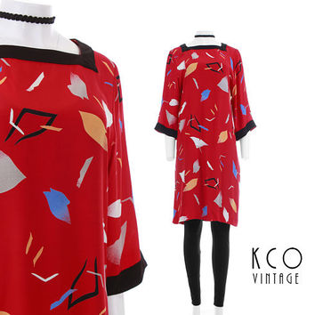 """Red Tunic Dress 80s Clothing Vintage Dress Loose Fitting Midi Dress Abstract Modern Art Print USA Made Clothing Women's Size MEDIUM 39"""" Bust"""