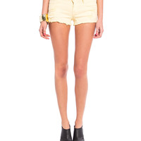 Colored Distressed Denim Shorts - Yellow - 2020AVE