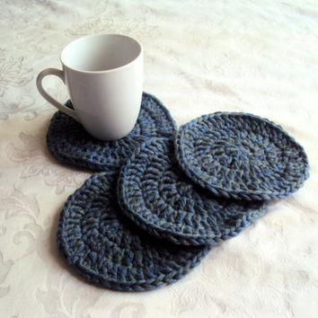 Crochet Coasters Set of 4 Drink Coasters Home Decor - Gift Ideas Home and Living Accessories Women Men Cozy Kitchen Accessories Housewares