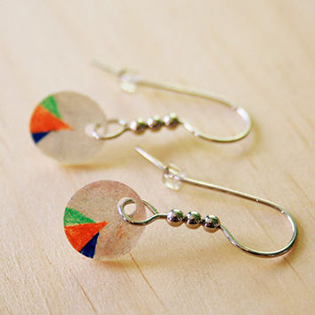 Geometrical Orange, Green, & Blue on White | earrings