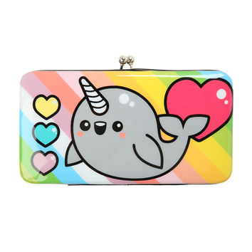 Rainbow Narwhal Kisslock Hinge Wallet