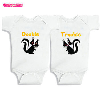 Culbutomind Double Trouble Twins Baby clothes Gift Cotton twins Set of 2 kids Boy Girl Shirt Baby Bodysuit 0-12M Newborn Shower