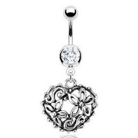 "Amazon.com: 14g Dangling Vintage Inspired Heart Garden Sexy Belly Button Jewelry Navel Ring Dangle Body Jewelry Piercing with Surgical Steel Bar 14 Gauge 3/8"" Nemesis Body JewelryTM: Everything Else"
