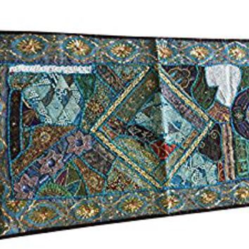 Mogul Decor Tapestry Hand Crafted Sequin Patchwork Table Runner Wall Throw 36X20