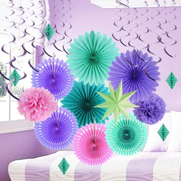 Purple Mermaid Party Decoration Set Tissue Paper Fans Pom Pom Flowers Honeycomb Diamond Little Princess Baby Girl Birthday 15pc
