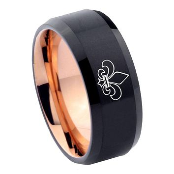 8mm Fleur De Lis Bevel Tungsten Carbide Rose Gold Men's Ring
