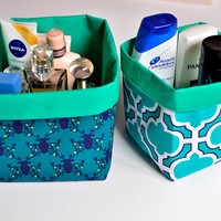 Teal storage bins, Textile boxes, Set of two fabric bins, Teal home décor, Nursery or bathroom storage, Diaper storage, Reversible baskets