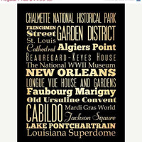 ON SALE New Orleans, Louisiana, Typography Art Poster / Bus/ Transit / Subway Roll Art 18X24-New Orleans' Attractions Wall Art Decoration -
