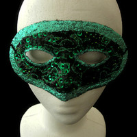 Green One Of A Kind Handmade Mask with Glitter, Beads, Sequins and Embroidery, Glamorous Halloween Masquerade Mask,Free US Shipping