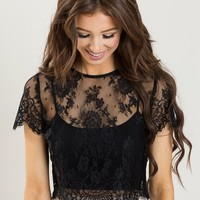 Jolee Black Short Sleeve Lace Top