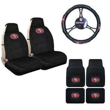 Licensed Official New NFL San Francisco 49ers Sideless Seat Covers Floor Mats Steering Wheel Cover