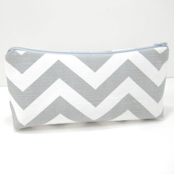 Gray Chevron Pouch, Accessory Pouch, Zippered Cosmetic Pouch, Gray and White Slub Canvas, Ready to Ship