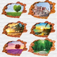 tree lined trail sunset 3D Wall Sticker 60*90CM 23.62''*35.43in quarto poster Bedroom house mural wall decals poster Home Decor