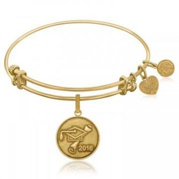 ac NOVQ2A Expandable Bangle in Yellow Tone Brass with Class Of 2016 Graduation Cap Symbol