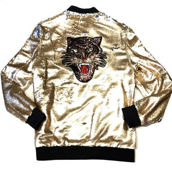 Barabas Men's Gold/Silver 'Tiger' Sequin Bomber Jacket