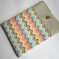 Chevron linen sleeve 13 with pockets, MacBook Pro 13 sleeve, MacBook Air 13 Case, MacBook Pro 13 case, MacBook Air sleeve